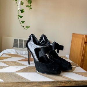 White House/black market suede peeptoe black heels